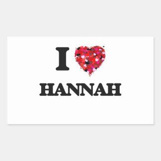 Amo a Hannah Pegatina Rectangular