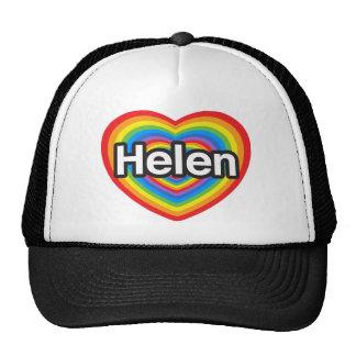 Amo a Helen. Te amo Helen. Corazón Gorros Bordados