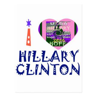 Amo a Hillary Clinton para el arte de presidente Tarjetas Postales