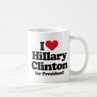 Amo a Hillary Clinton para el presidente Taza Básica Blanca