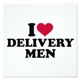 """Amo a hombres de entrega invitación 5.25"""" x 5.25"""""""