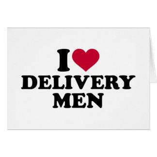 Amo a hombres de entrega tarjeta de felicitación