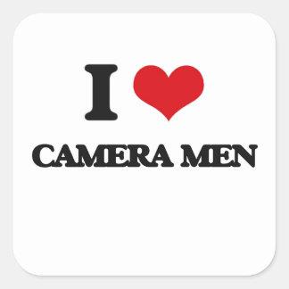 Amo a hombres de la cámara calcomanía cuadrada