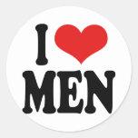 Amo a hombres pegatina redonda