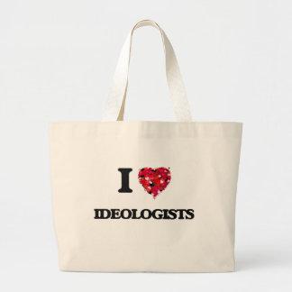 Amo a ideólogos bolsa tela grande