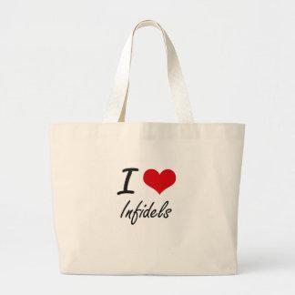 Amo a infieles bolsa tela grande