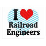 Amo a ingenieros de ferrocarril tarjeta postal