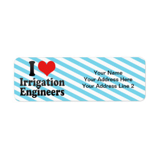 Amo a ingenieros de la irrigación etiqueta de remitente