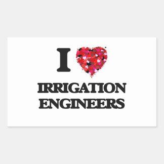 Amo a ingenieros de la irrigación pegatina rectangular