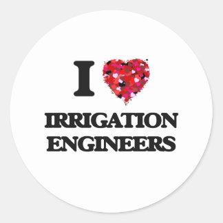 Amo a ingenieros de la irrigación pegatina redonda