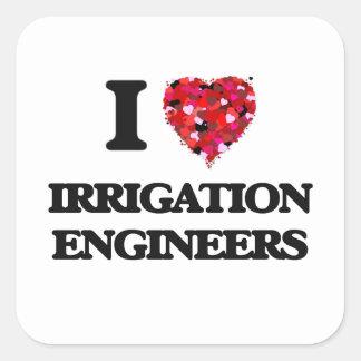 Amo a ingenieros de la irrigación pegatina cuadrada