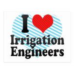 Amo a ingenieros de la irrigación tarjeta postal