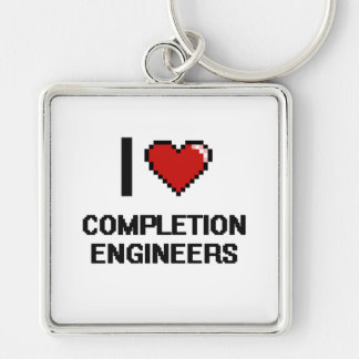 Amo a ingenieros de la realización llavero cuadrado plateado