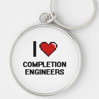 Amo a ingenieros de la realización llavero redondo plateado