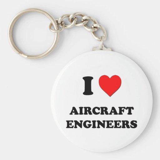 Amo a ingenieros de los aviones llavero redondo tipo pin