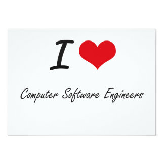 """Amo a ingenieros de los programas informáticos invitación 5"""" x 7"""""""