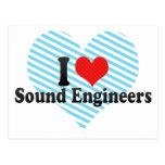 Amo a ingenieros de sonido tarjeta postal
