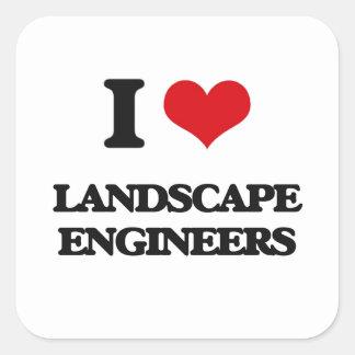 Amo a ingenieros del paisaje calcomanías cuadradass personalizadas
