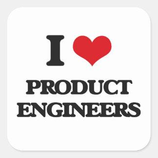 Amo a ingenieros del producto calcomania cuadradas personalizada