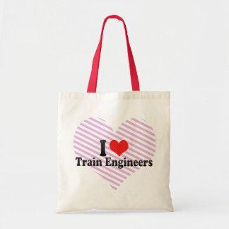 Amo a ingenieros del tren bolsa lienzo