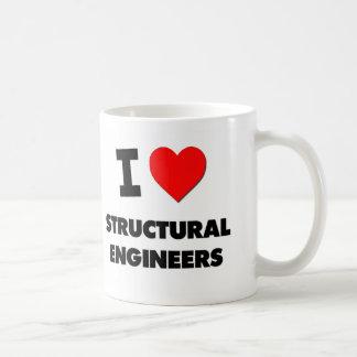 Amo a ingenieros estructurales taza básica blanca