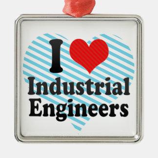 Amo a ingenieros industriales ornamento de navidad