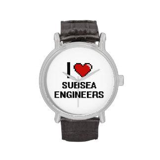 Amo a ingenieros submarinos reloj de mano