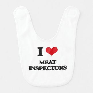 Amo a inspectores de la carne baberos para bebé
