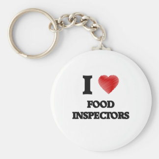 Amo a inspectores de la comida llavero redondo tipo pin