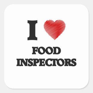 Amo a inspectores de la comida pegatina cuadrada