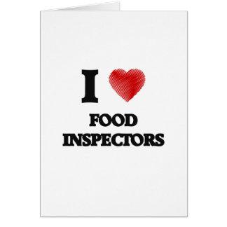 Amo a inspectores de la comida tarjeta de felicitación