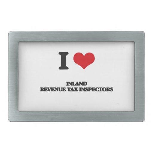 Amo a inspectores del impuesto de Hacienda pública Hebilla De Cinturón Rectangular