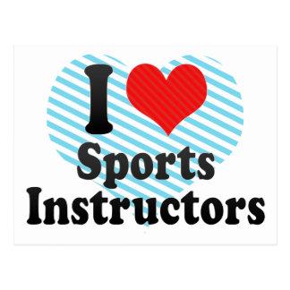 Amo a instructores de los deportes tarjetas postales