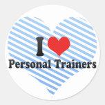 Amo a instructores personales pegatinas redondas