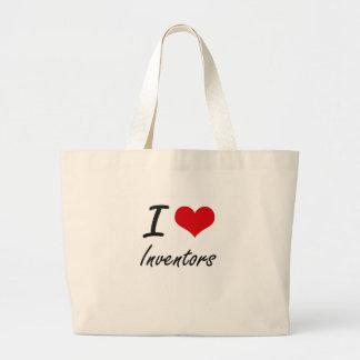 Amo a inventores bolsa tela grande