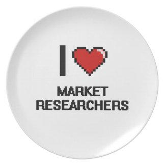 Amo a investigadores de mercado plato