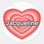 Amo a Jacoba. Te amo Jacoba. Corazón Etiquetas Redondas