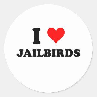 Amo a Jailbirds Pegatina Redonda