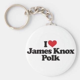 Amo a James Knox Polk Llavero Redondo Tipo Pin