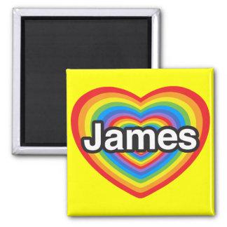 Amo a James. Te amo James. Corazón Imán Cuadrado