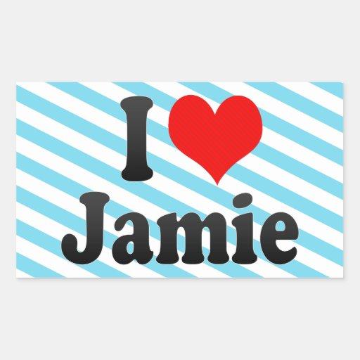Amo a Jamie Pegatina Rectangular