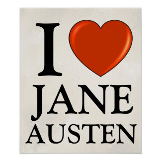 Amo a Jane Austen con el corazón rojo Póster