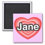 Amo a Jane. Te amo Jane. Corazón Imanes Para Frigoríficos