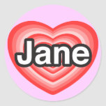 Amo a Jane. Te amo Jane. Corazón Pegatinas Redondas
