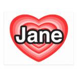 Amo a Jane. Te amo Jane. Corazón Tarjeta Postal