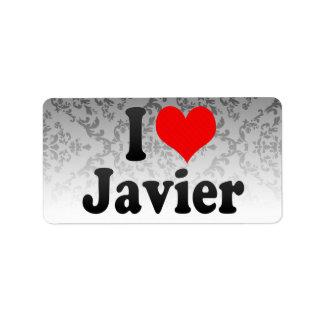 Amo a Javier Etiquetas De Dirección