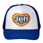 Amo a Jeff. Te amo Jeff. Corazón Gorra