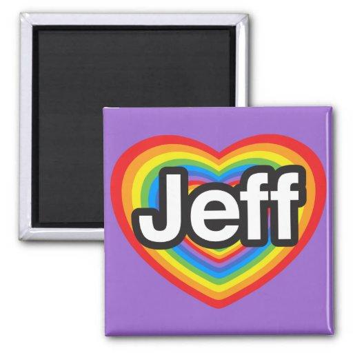 Amo a Jeff. Te amo Jeff. Corazón Imán Cuadrado