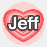 Amo a Jeff. Te amo Jeff. Corazón Pegatinas Redondas