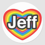 Amo a Jeff. Te amo Jeff. Corazón Pegatina Redonda